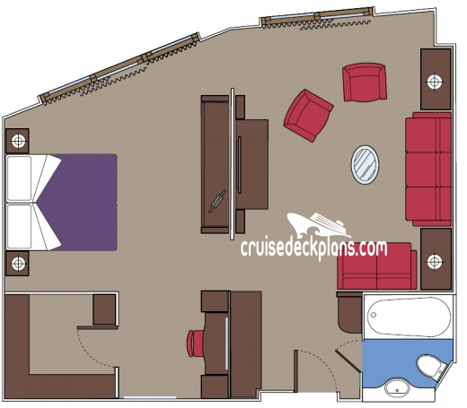 MSC Divina Yacht Club Window Suite Diagram Layout