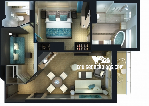 Norwegian Breakaway The Haven 2-Bedroom Family Villa Diagram Layout