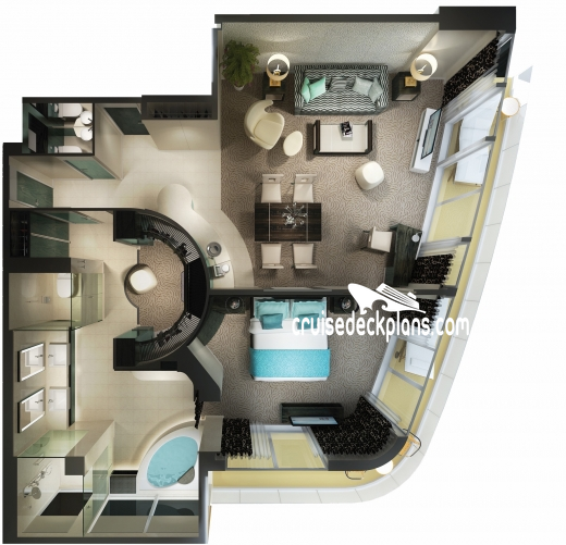 Norwegian Getaway Haven Deluxe Owners Suite Diagram Layout