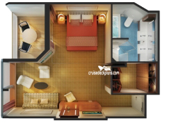 Family Suite with balcony diagram