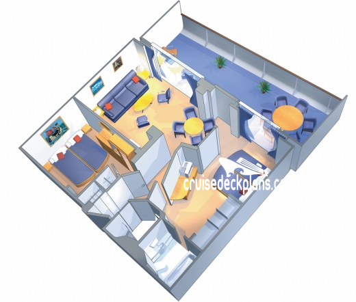 Voyager of the Seas Grand Suite - 2 Bedroom Diagram Layout