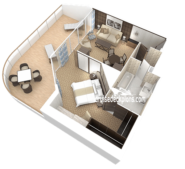 Azamara pursuit club world owners suite stateroom for The world deck plans
