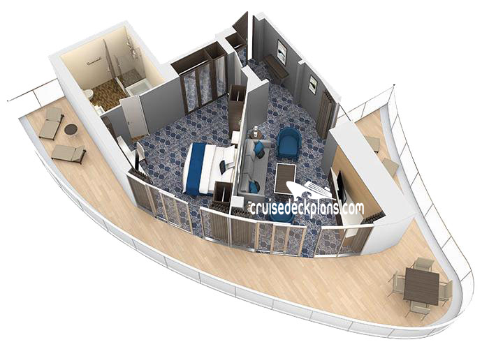 Harmony of the Seas Aqua Theater Suite - 1 Bedroom Diagram Layout