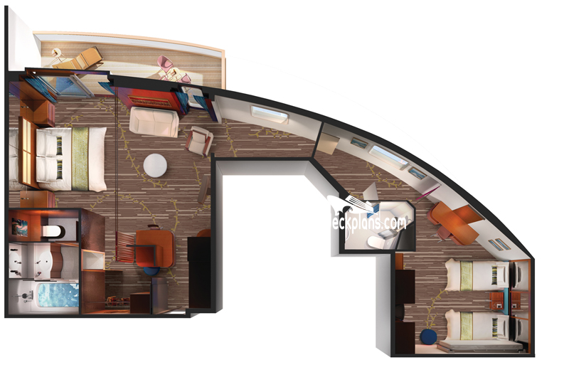 Pride of America 2-Bedroom Deluxe Family Suite Diagram Layout