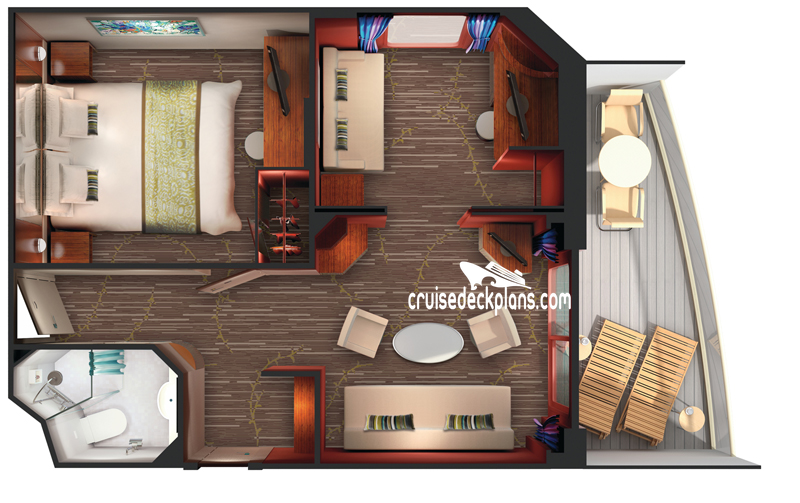 Pride of America 2-Bedroom Family Suite Diagram Layout