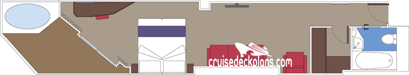 MSC Seaside Suite with Whirlpool Bath Diagram Layout