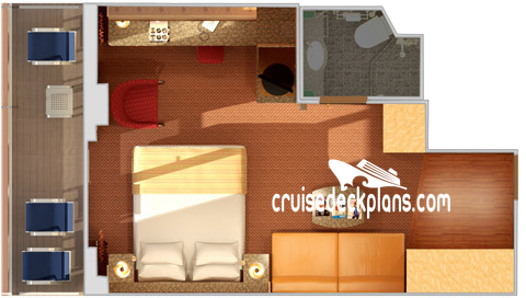 Carnival Spirit Premium Balcony Diagram Layout