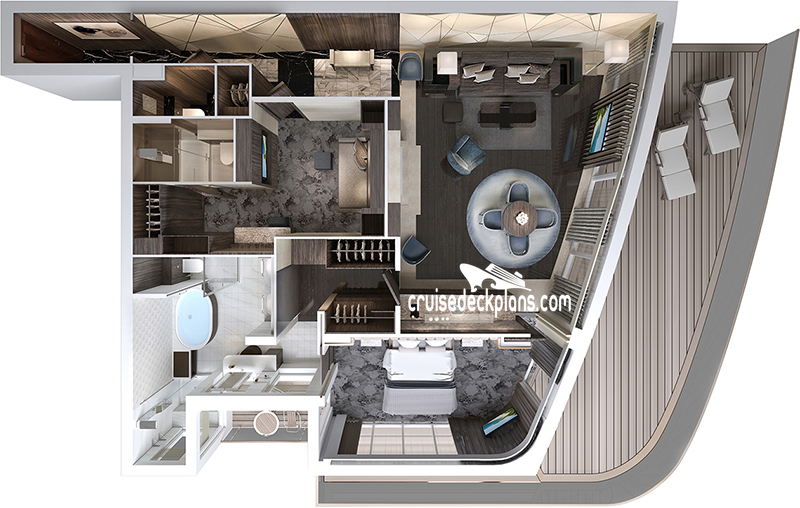 Norwegian Encore The Haven Deluxe Owners Suite Diagram Layout